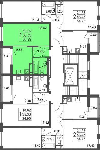 1-комнатная квартира, 37,0 м² за 3,10 млн руб.