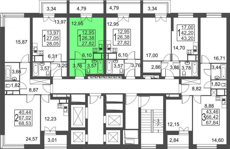 Квартира-студия, 27,8 м² за 2,96 млн руб.