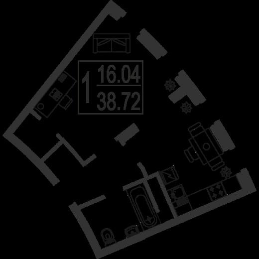 1-комнатная квартира № 3