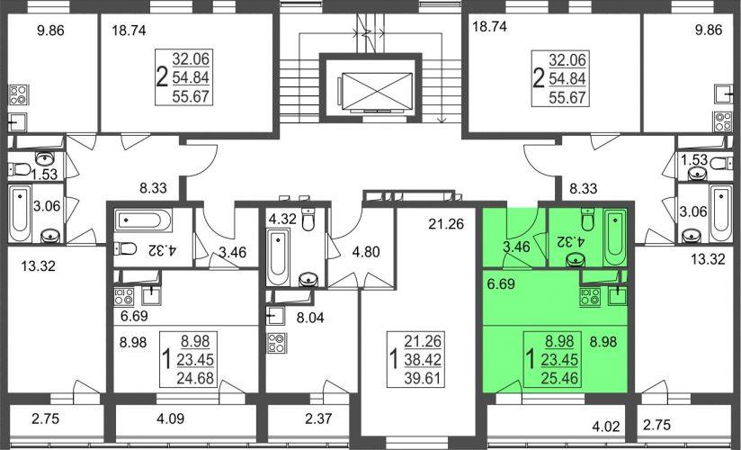 Квартира-студия, 25,5 м² за 2,19 млн руб. в Мкр. «Красногорский» - расположение в секции