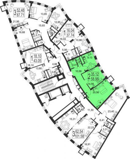 2-комнатная квартира № 14