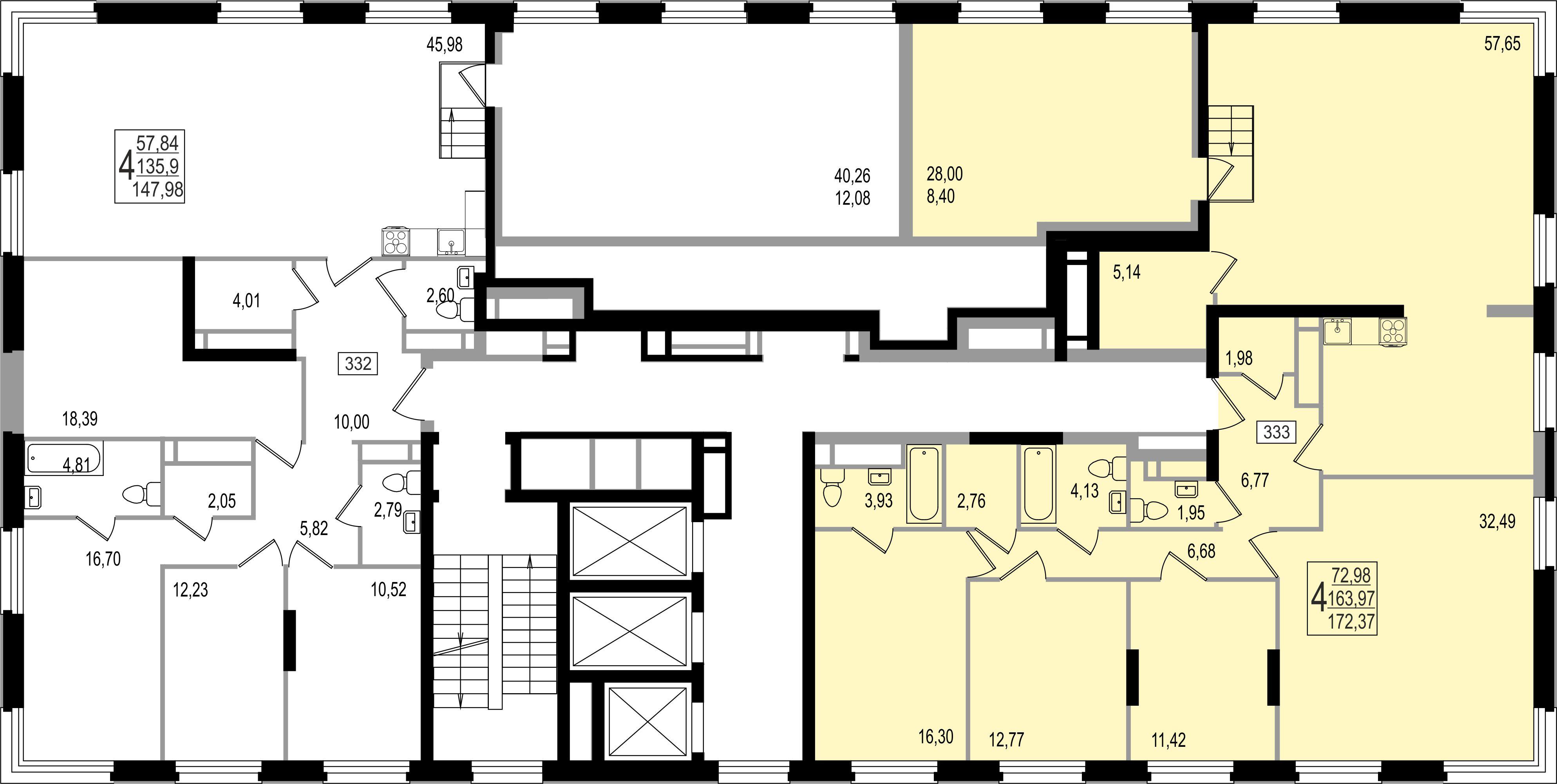 4-комнатная квартира, №159