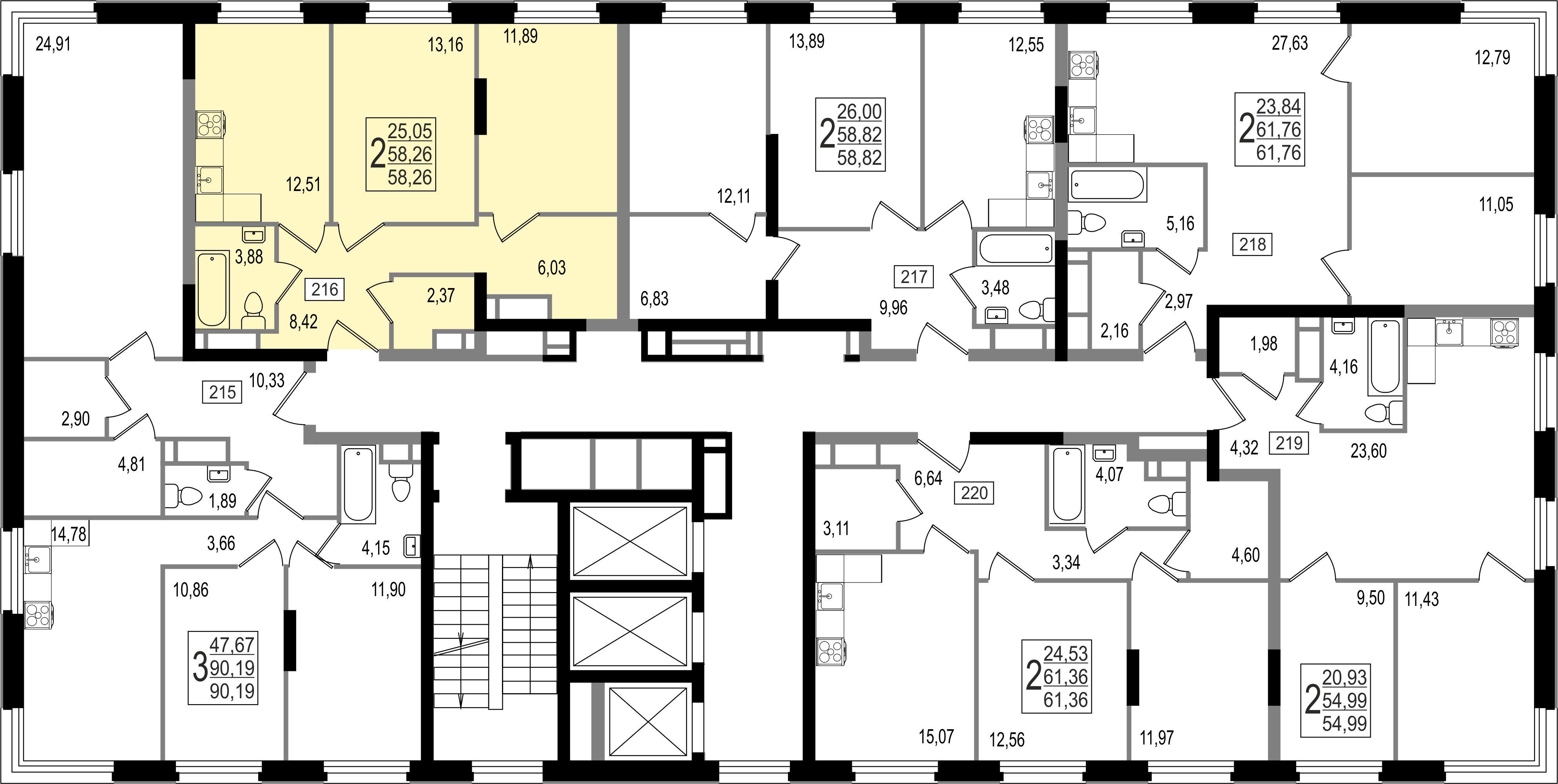 2-комнатная квартира, №42