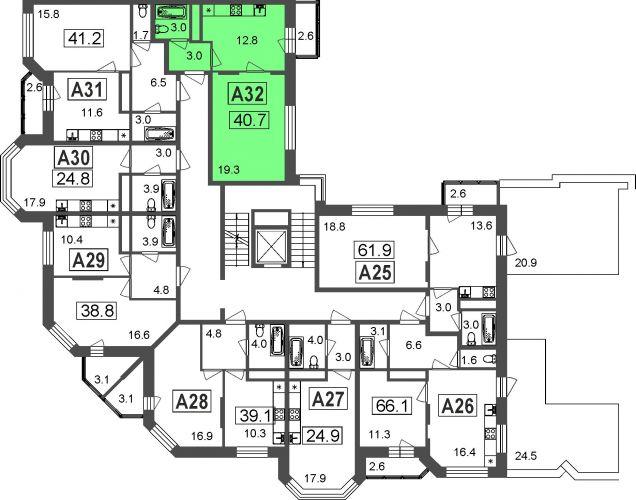 1-комнатные апартаменты, 38,1 м² за 2,91 млн руб. в ЖК «Мытищи Lite» - расположение в секции