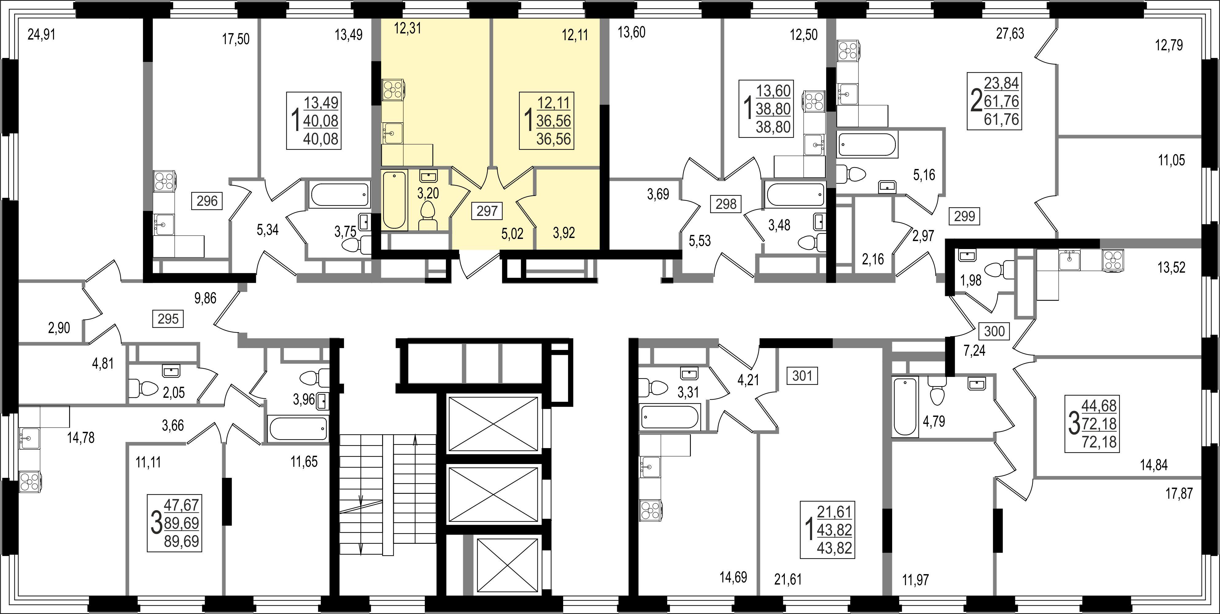 1-комнатная квартира, №123