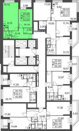 2-комнатная квартира, 53,3 м² за 4,69 млн руб.