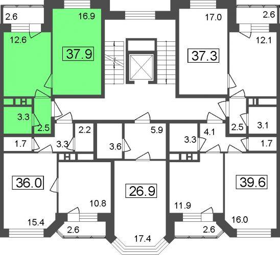 1-комнатные апартаменты, 35,3 м² за 2,72 млн руб.