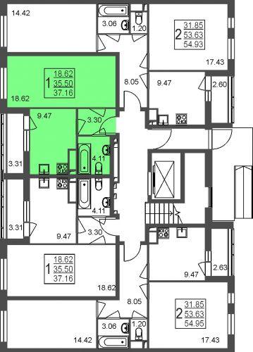 1-комнатная квартира, 37,2 м² за 3,24 млн руб. в Мкр. «Красногорский» - расположение в секции