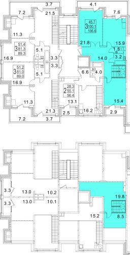3-комнатная квартира, 106,6 м² за 12,53 млн руб.