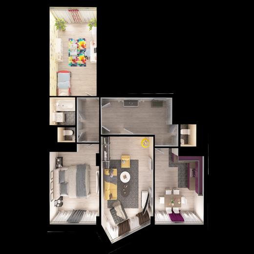 3-комнатная квартира № 164
