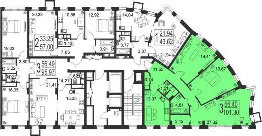3-комнатная квартира № 163