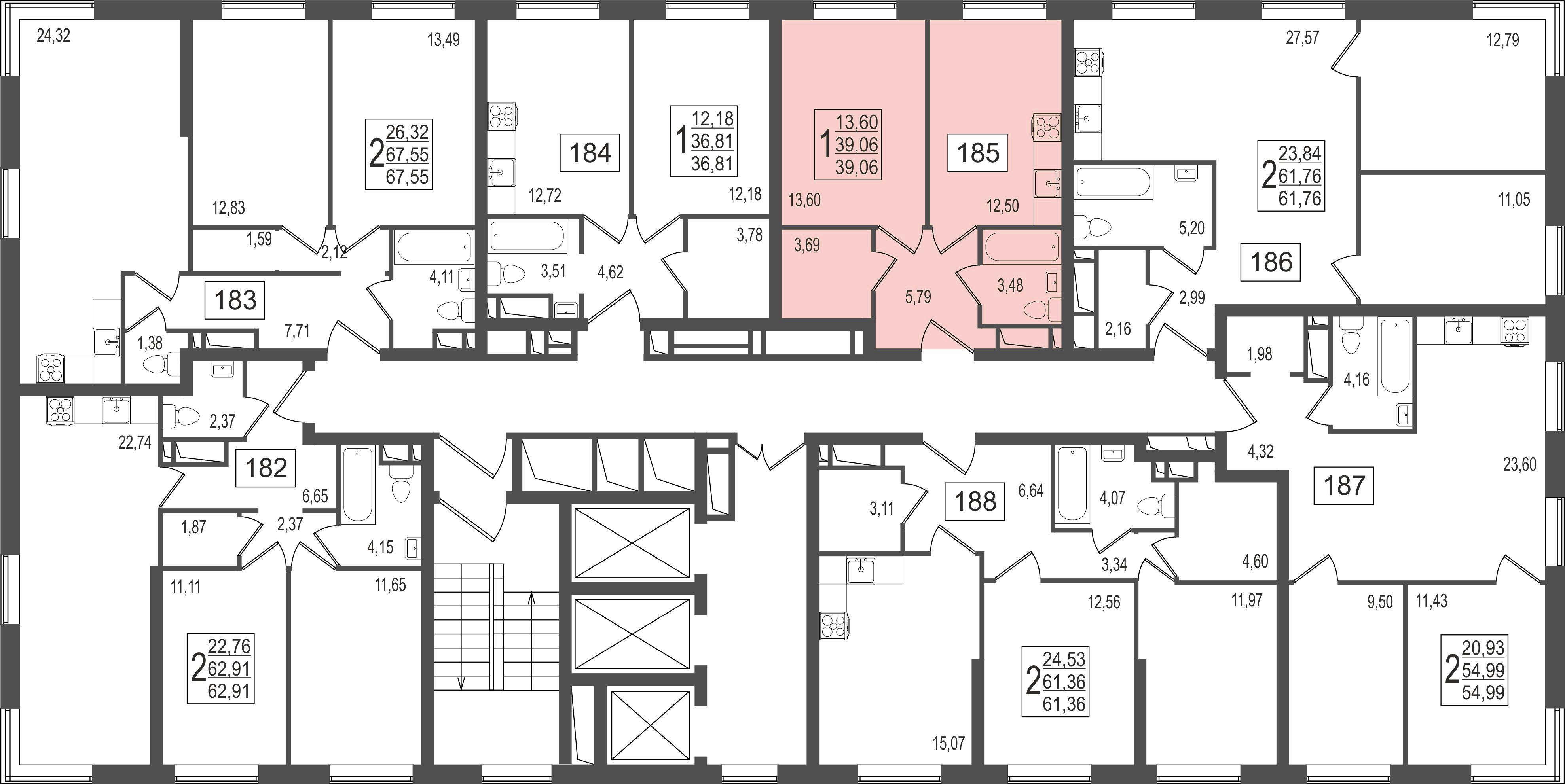 1-комнатная квартира, №11