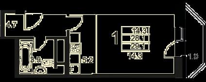 1-комнатная квартира 29,1 м²