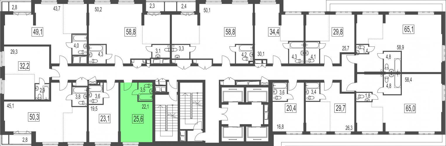 Квартира-студия, 25,6 м² за 3,45 млн руб. в ЖК «Сказочный лес» - расположение в секции