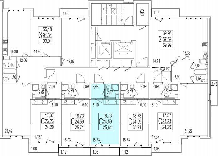 Квартира-студия, 25,6 м² за 2,10 млн руб.