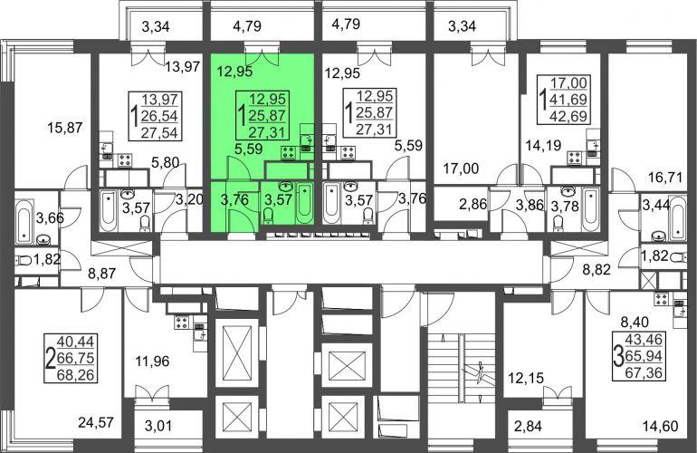 Квартира-студия, 27,3 м² за 3,20 млн руб.