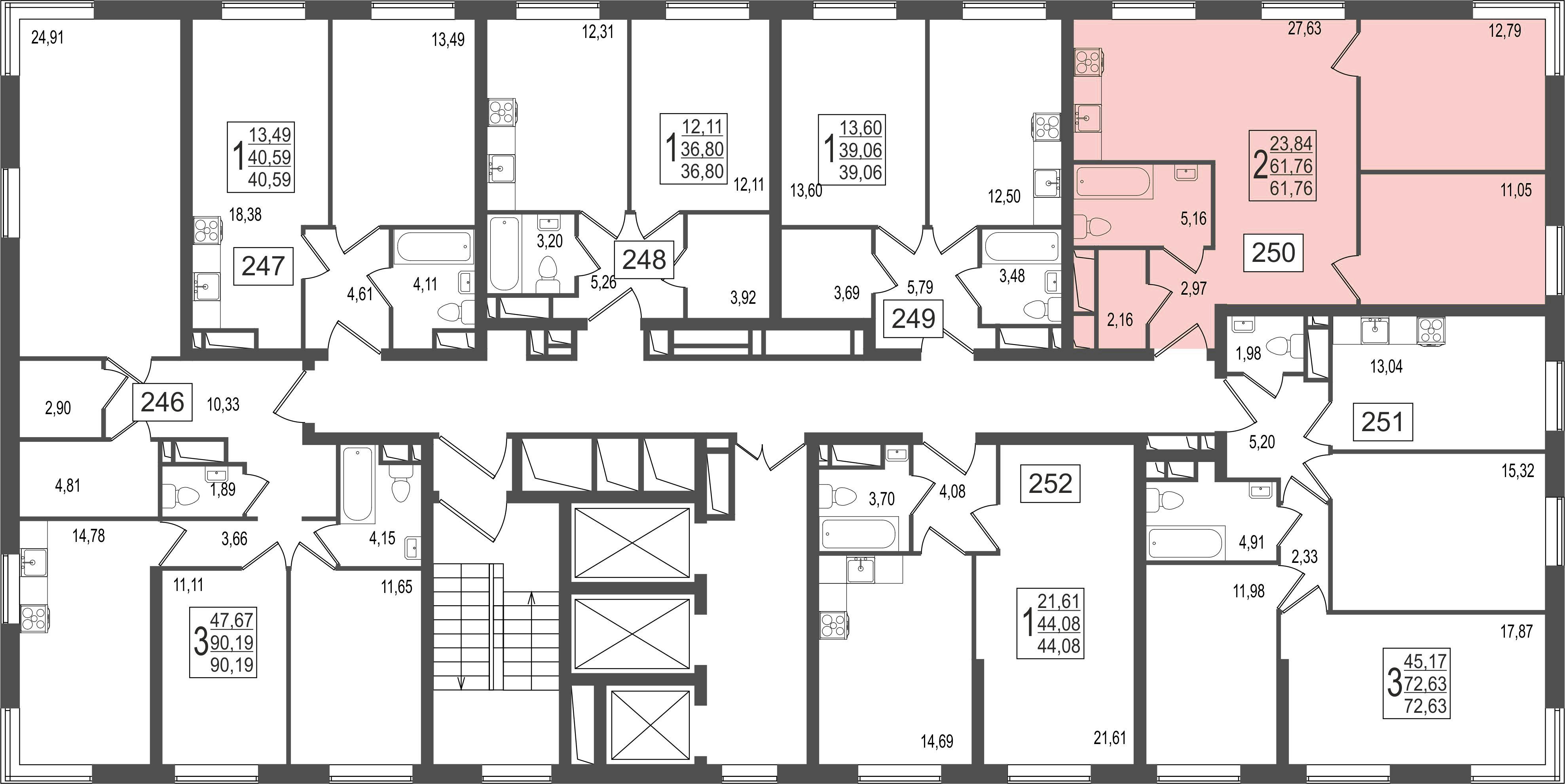 2-комнатная квартира, №76