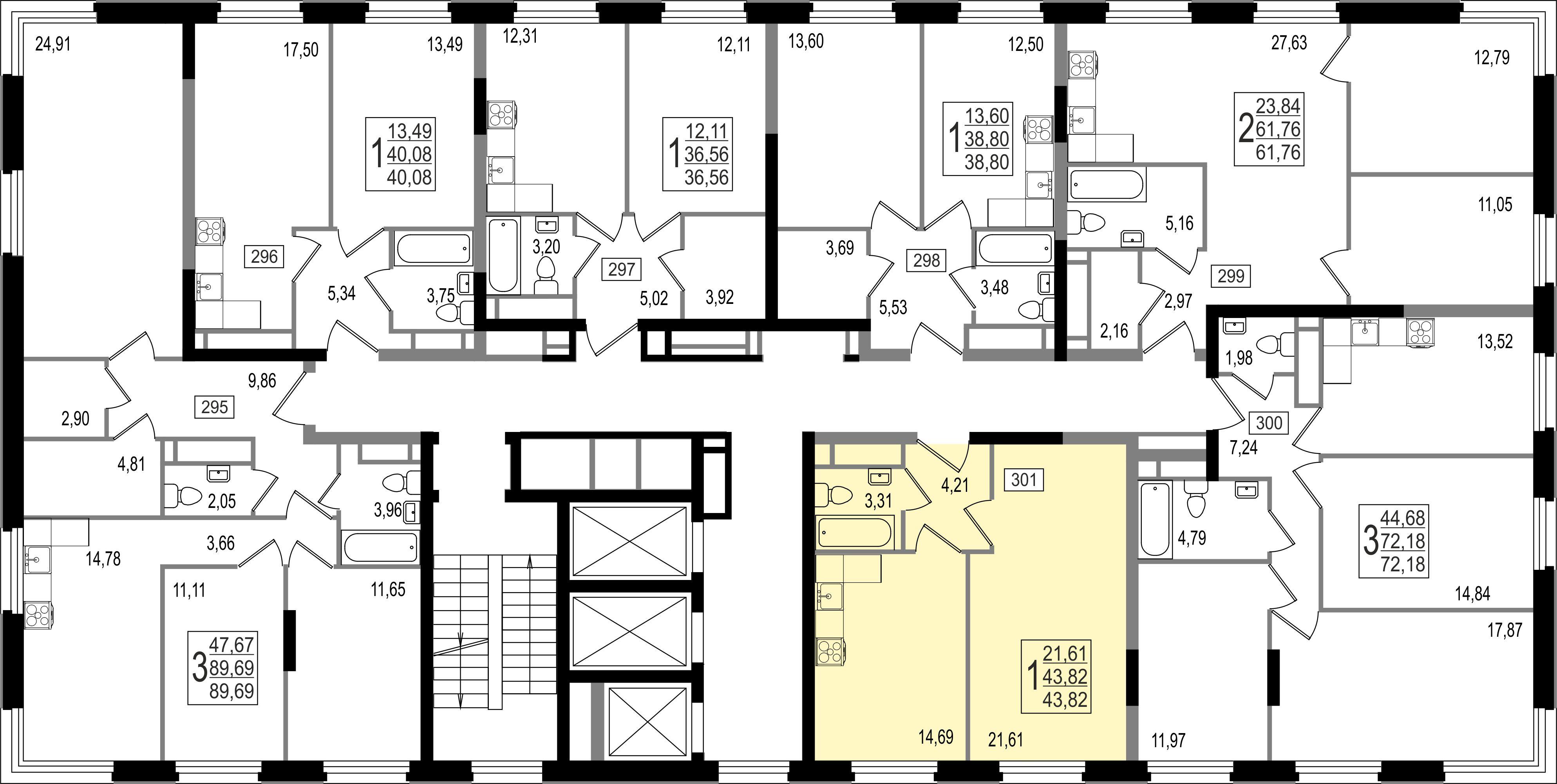 2-комнатная квартира, №127