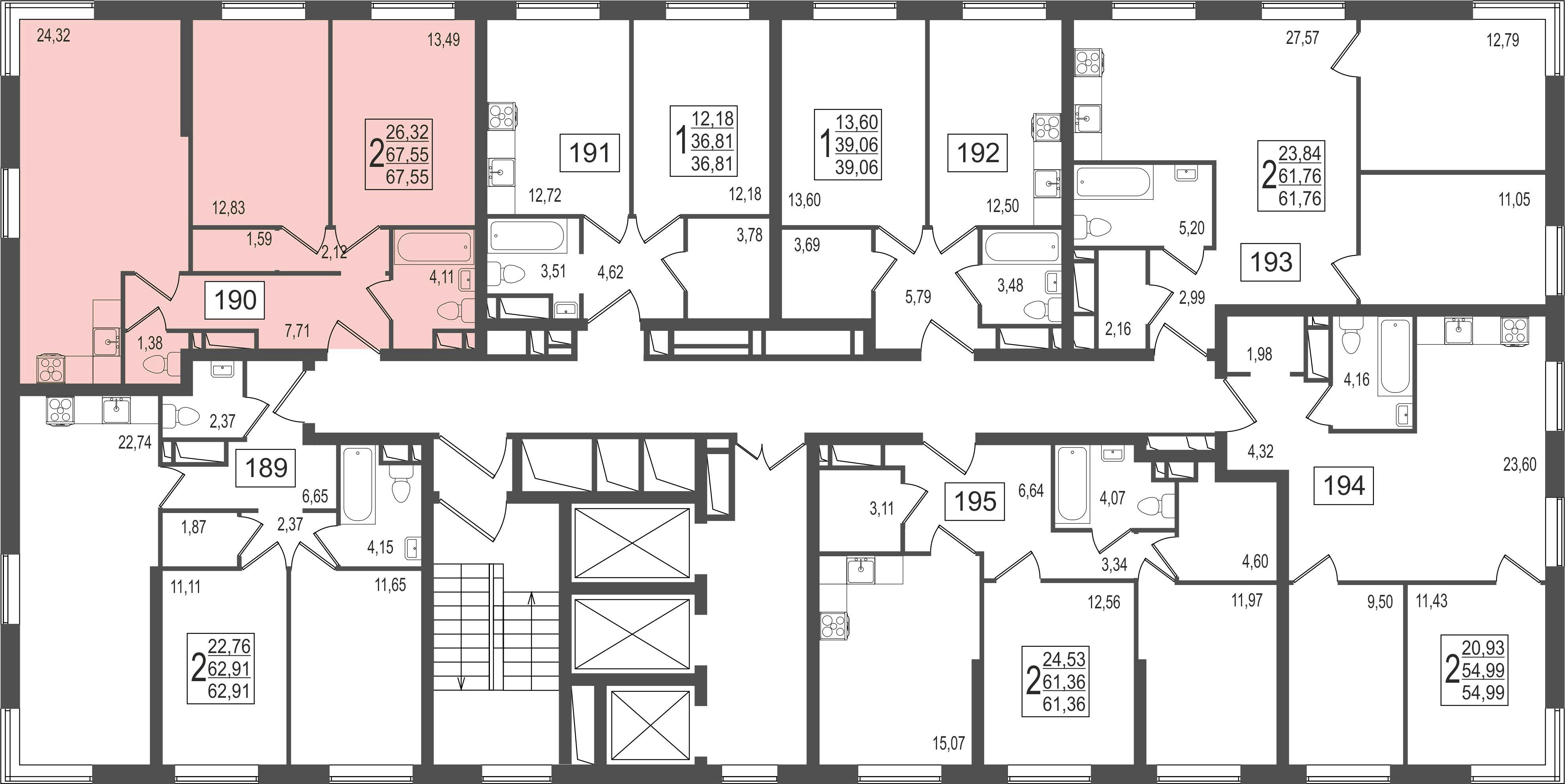 2-комнатная квартира, №16