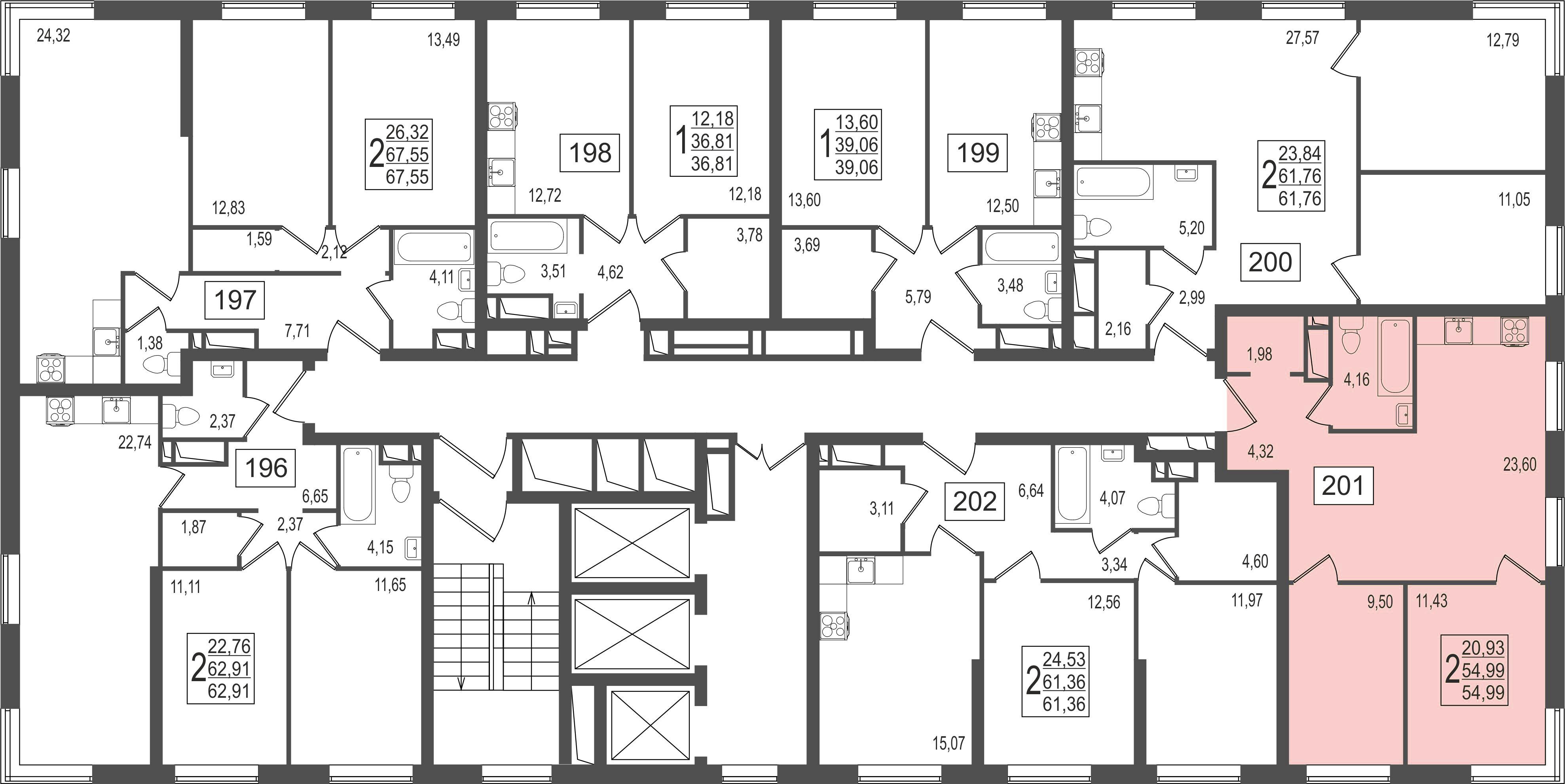 2-комнатная квартира, №27