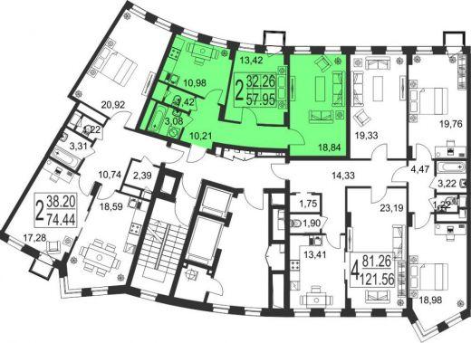2-комнатная квартира № 104