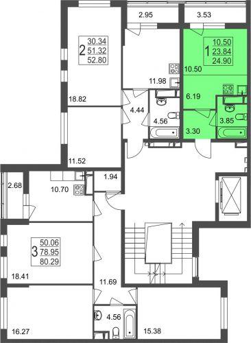 Квартира-студия, 24,9 м² за 1,91 млн руб.