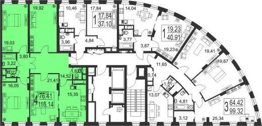 4-комнатная квартира № 200