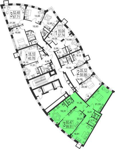 3-комнатная квартира № 30