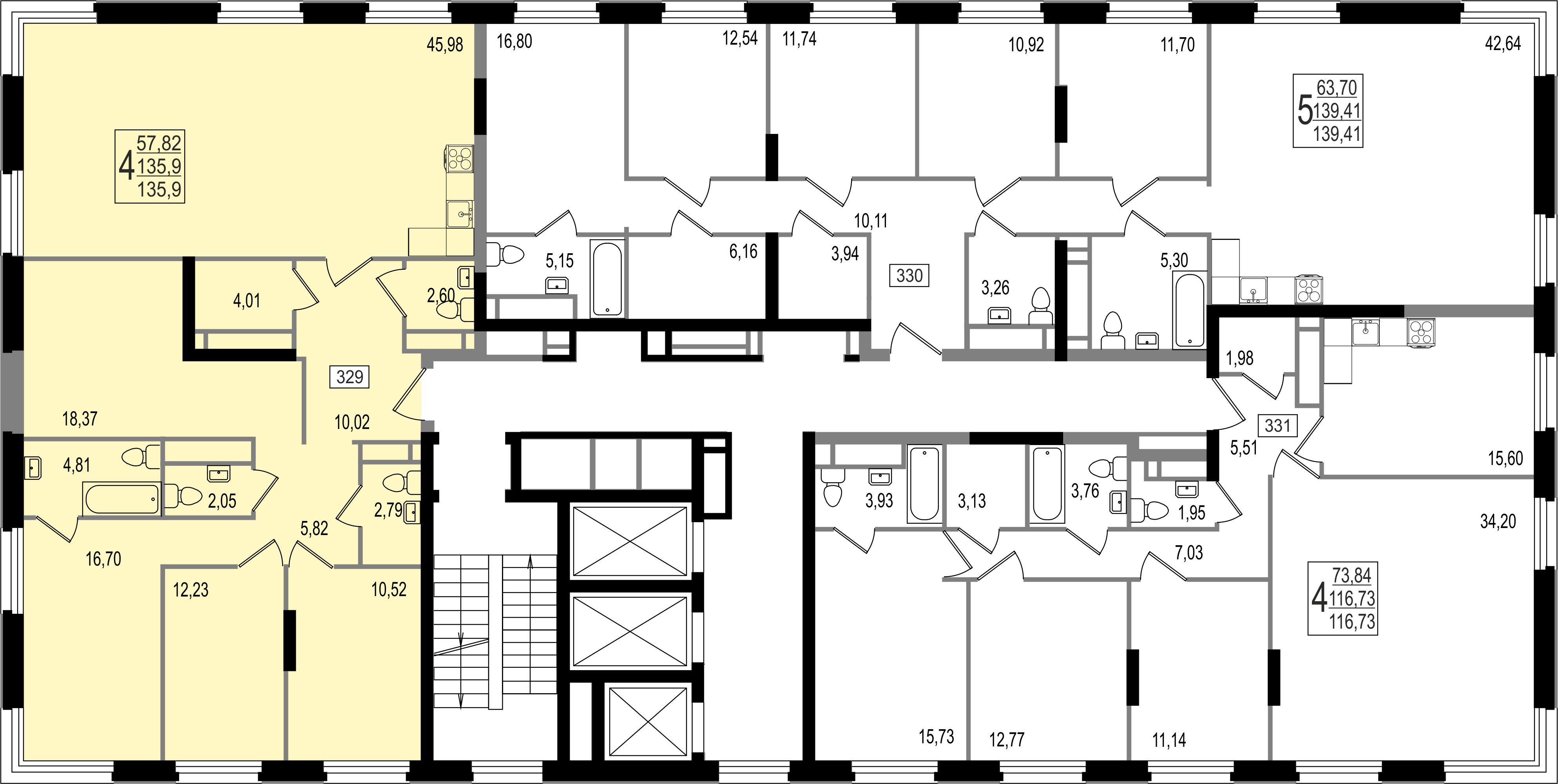 4-комнатная квартира, №155