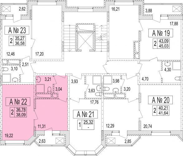 2-комнатные апартаменты, 36,3 м² за 3,13 млн руб. в ЖК «Мытищи Lite» - расположение в секции