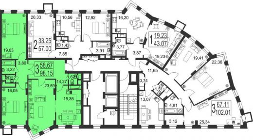 3-комнатная квартира № 144