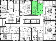 1-комнатная квартира 37 м²