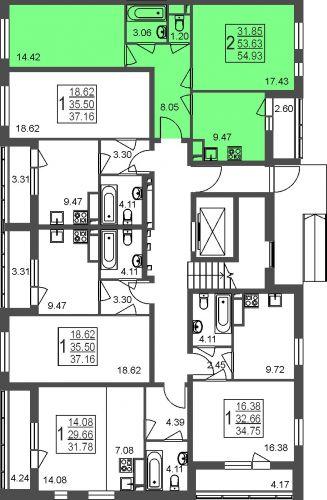 2-комнатная квартира, 54,9 м² за 3,78 млн руб.