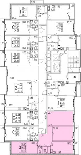 3-комнатная квартира, 88,2 м² за 4,94 млн руб.
