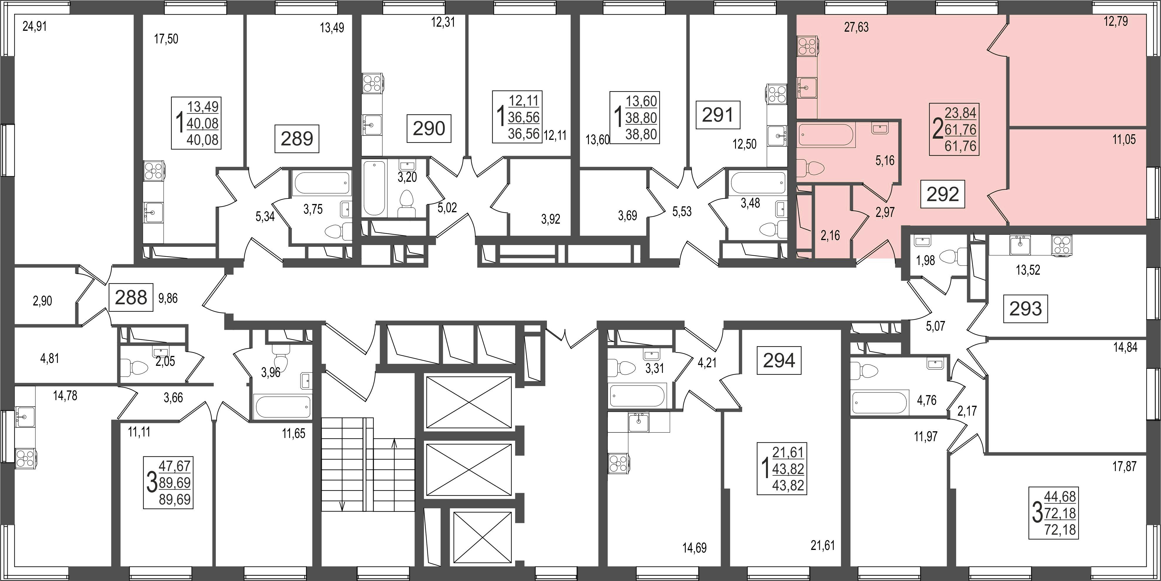 2-комнатная квартира, №118