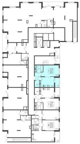 1-комнатная квартира, 35,7 м² за 2,74 млн руб.