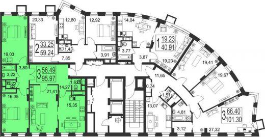 3-комнатная квартира № 184