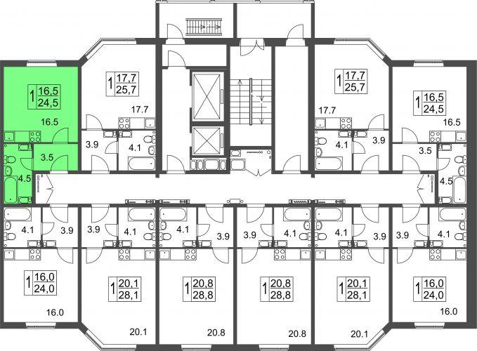 Квартира-студия, 24,5 м² за 1,13 млн руб.