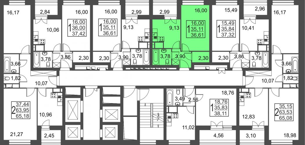 1-комнатная квартира, 36,6 м² за 3,37 млн руб.