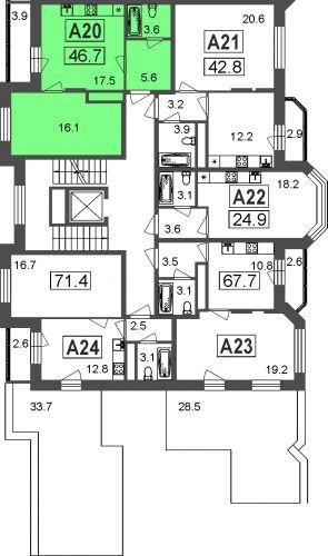 1-комнатные апартаменты, 42,8 м² за 3,27 млн руб.