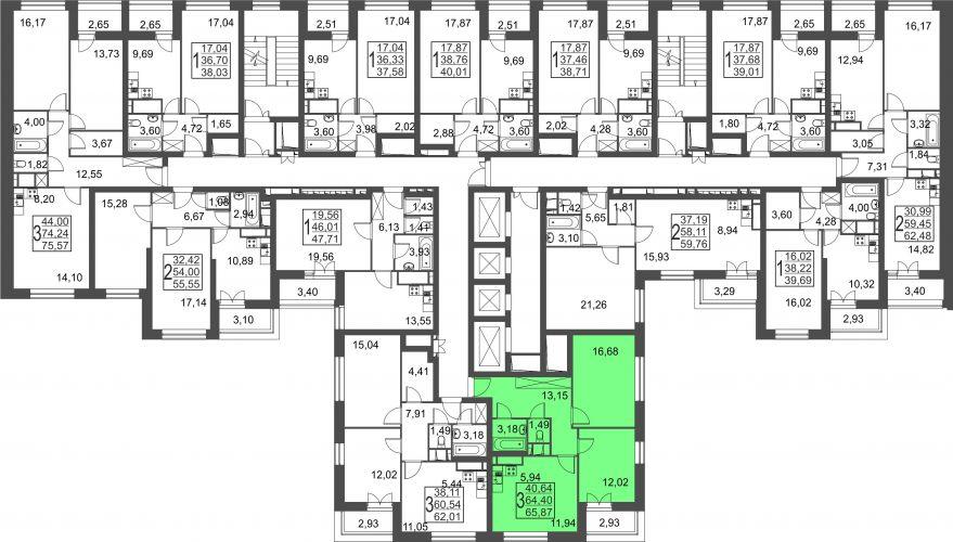 3-комнатная квартира, 65,9 м² за 5,60 млн руб.