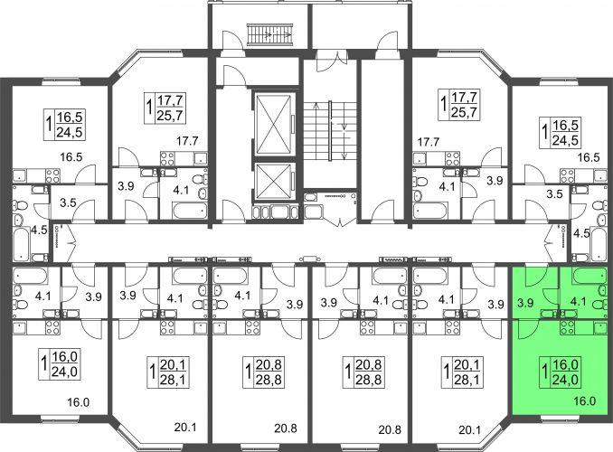 Квартира-студия, 24,0 м² за 1,12 млн руб.