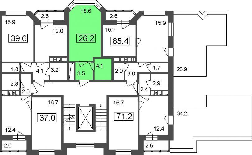 Апартаменты-студия, 26,2 м² за 2,15 млн руб.
