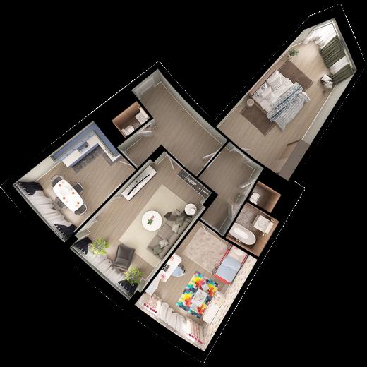 3-комнатная квартира № 60