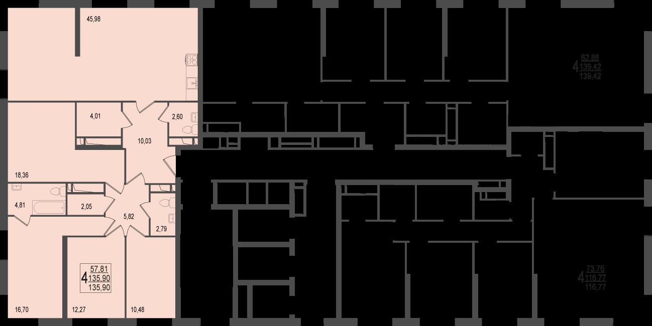 4-комнатная квартира, №149