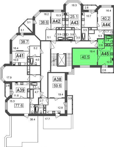 1-комнатные апартаменты, 37,9 м² за 2,95 млн руб. в ЖК «Мытищи Lite» - расположение в секции