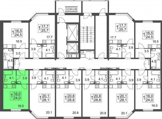 Квартира-студия, 24,0 м² за 1,08 млн руб.