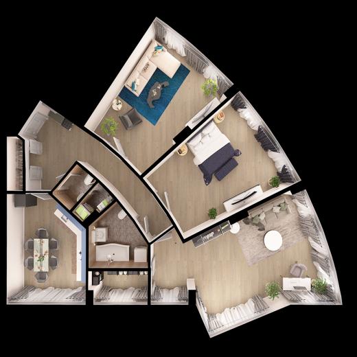 3-комнатная квартира № 199
