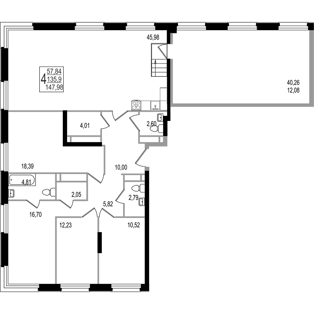 4-комнатная квартира, №158
