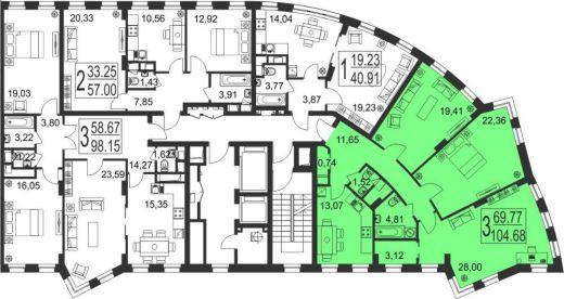 3-комнатная квартира № 143